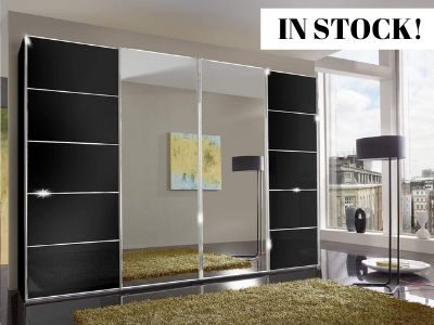 instrument Cali sliding wardrobe with synchro doors 400cm [Black Glass and Mirror] IN STOCK - INSTRUMENT FURNITURE