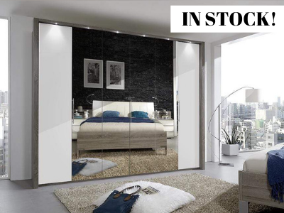 instrument Rosario bi-folding wardrobe 300cm [Bianco Oak and Champagne Glass with Mirror] IN STOCK - INSTRUMENT FURNITURE