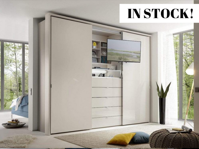 instrument Versa sliding wardrobe 249cm [frosted sand glass] IN STOCK - INSTRUMENT FURNITURE