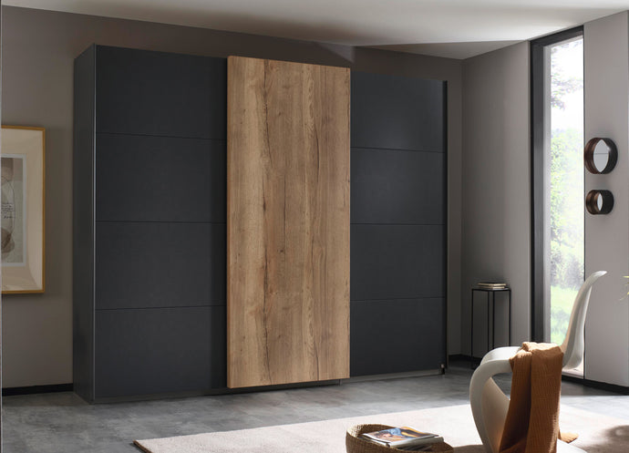 instrument Helix sliding wardrobe 271cm [Matt Metallic Grey] - INSTRUMENT FURNITURE