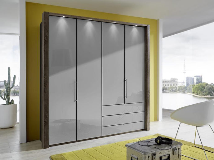 instrument Rosario bi-folding wardrobe with drawers 200cm [Pebble Grey] - INSTRUMENT FURNITURE