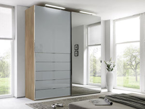 instrument Versa sliding wardrobe 188cm [light grey glass] - INSTRUMENT FURNITURE
