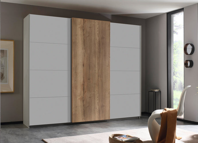 instrument Helix sliding wardrobe 271cm [Matt Silk Grey] - INSTRUMENT FURNITURE