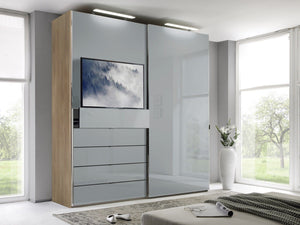 instrument Versa sliding wardrobe 167cm [light grey glass] - INSTRUMENT FURNITURE