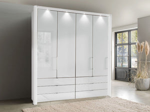instrument FREYA bi-folding door wardrobe with drawers 150cm [white] - INSTRUMENT FURNITURE