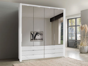 instrument FREYA bi-folding door wardrobe with drawers 200cm [white] - INSTRUMENT FURNITURE