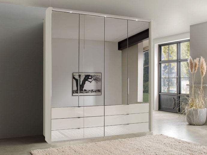 instrument FREYA bi-folding door wardrobe with drawers 150cm [champagne] - INSTRUMENT FURNITURE