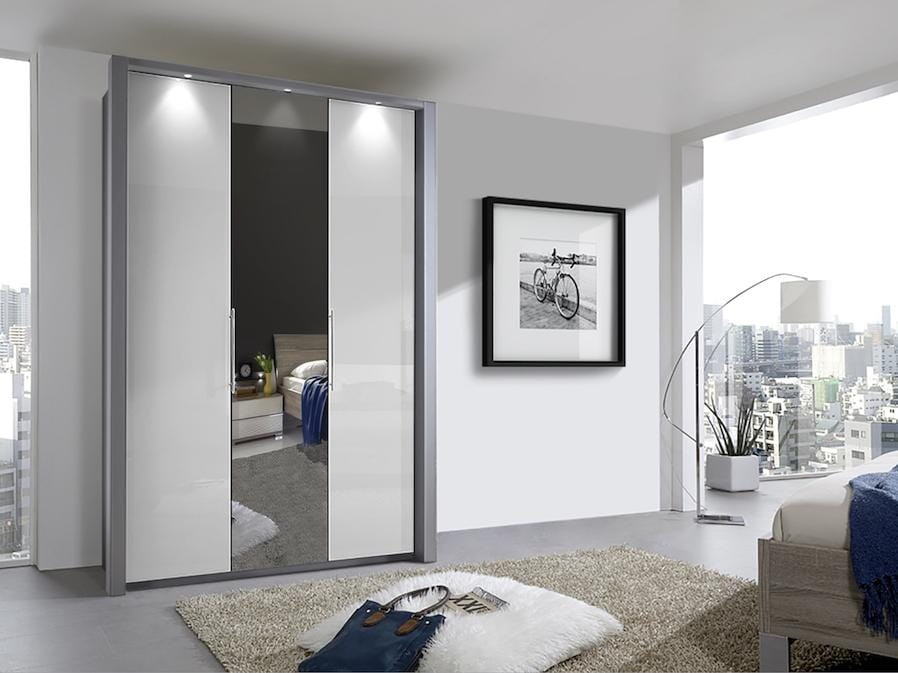 instrument Rosario bi-folding door wardrobe 150cm [White] - INSTRUMENT FURNITURE