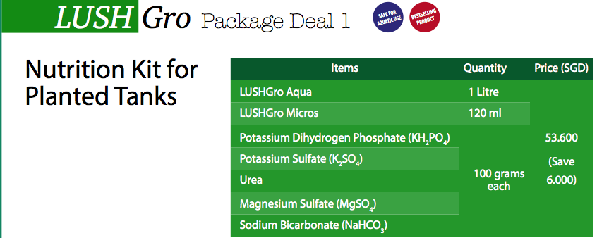 LushGro Package Deal 1: Nutrition Kit for Planted Tanks