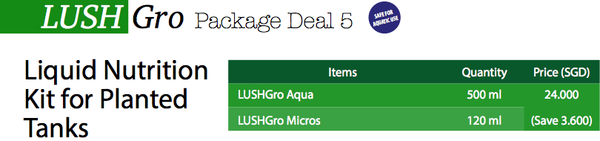 LushGro Package Deal 5: Formulated Liquid Nutrition Kit for Planted Tanks