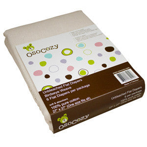 Flat Diapers - Unbleached Cotton Osocozy 6 Pack
