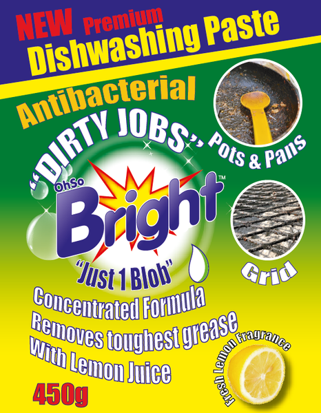 OhSoBright disheashing paste front label