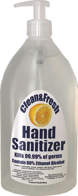 Clean&Fresh Hand Sanitizer Gel  850ml Squeezey Bottle with pump