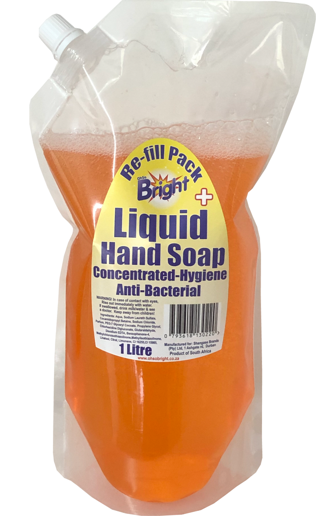 OhSoBright 1 Liter re-fill pack anti-bacterial liquid hand soap