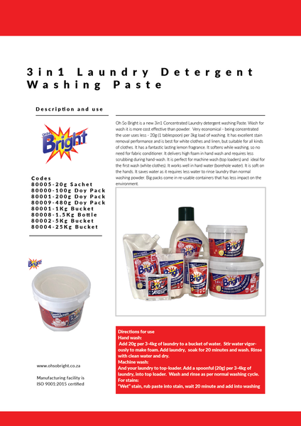 OhSo Bright Laundry paste information