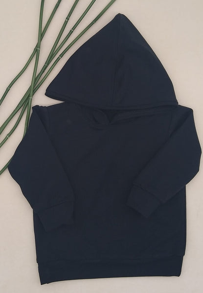 WCW Bamboo/Cotton French Terry Hoodie- Black- Sizes 12-18 months