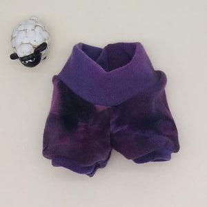 WCW Wool Interlock Bubble Shorties Diaper Cover- Angry Pansy- XS