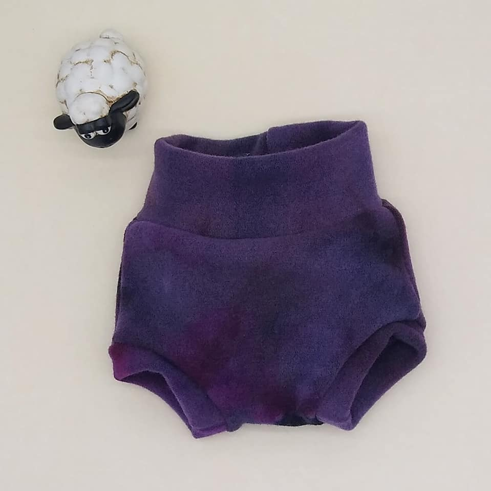 WCW Wool Interlock Bubble Soaker Diaper Cover- Angry Pansy - XS