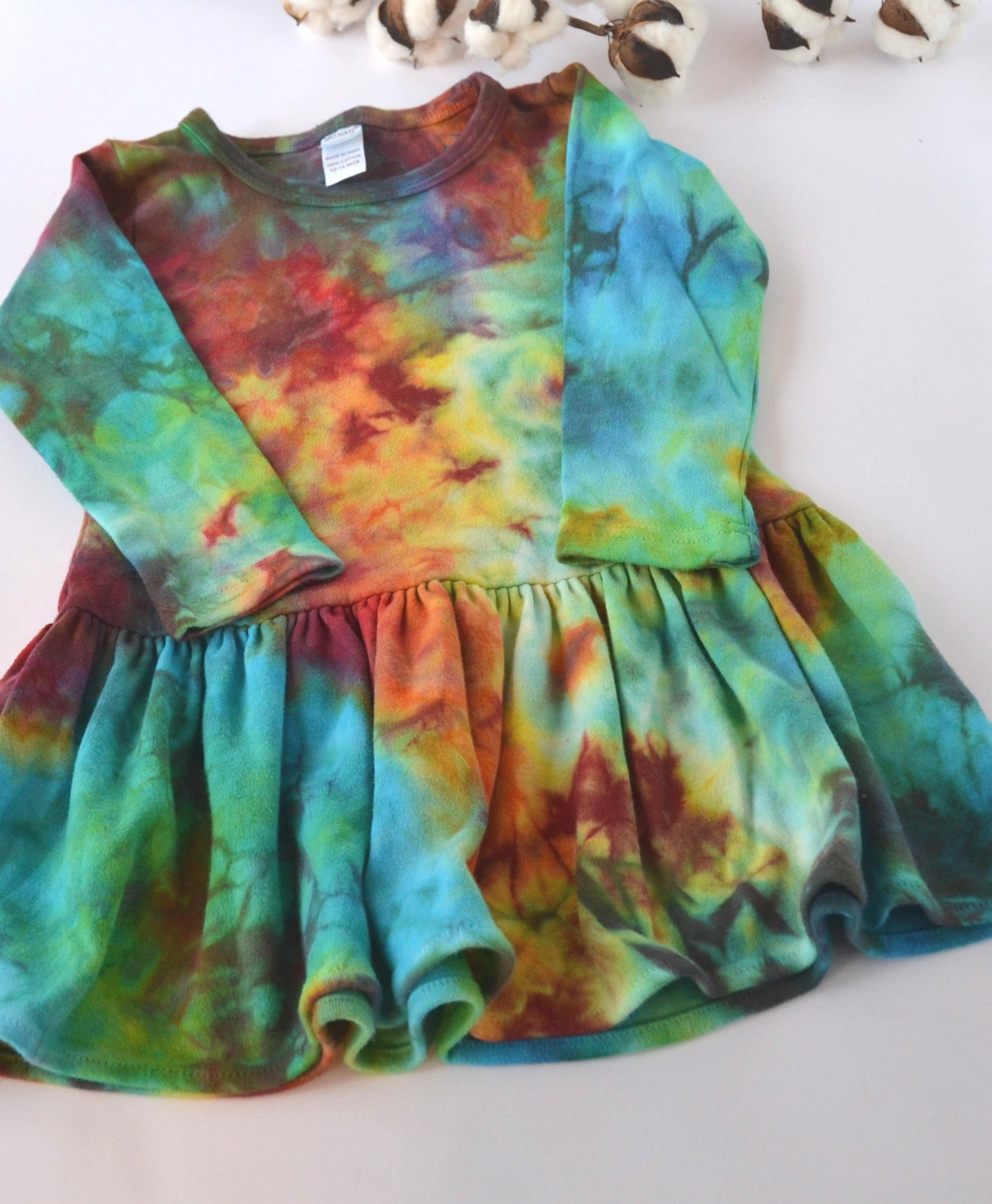 WCW Long Sleeve Pleated Dress-Rainbow- 12-18 months