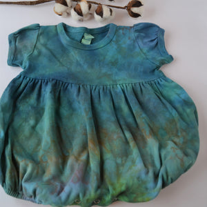 WCW Short Sleeve Bubble Romper- Verdigris Rainbow-12-18 or 18-24 months