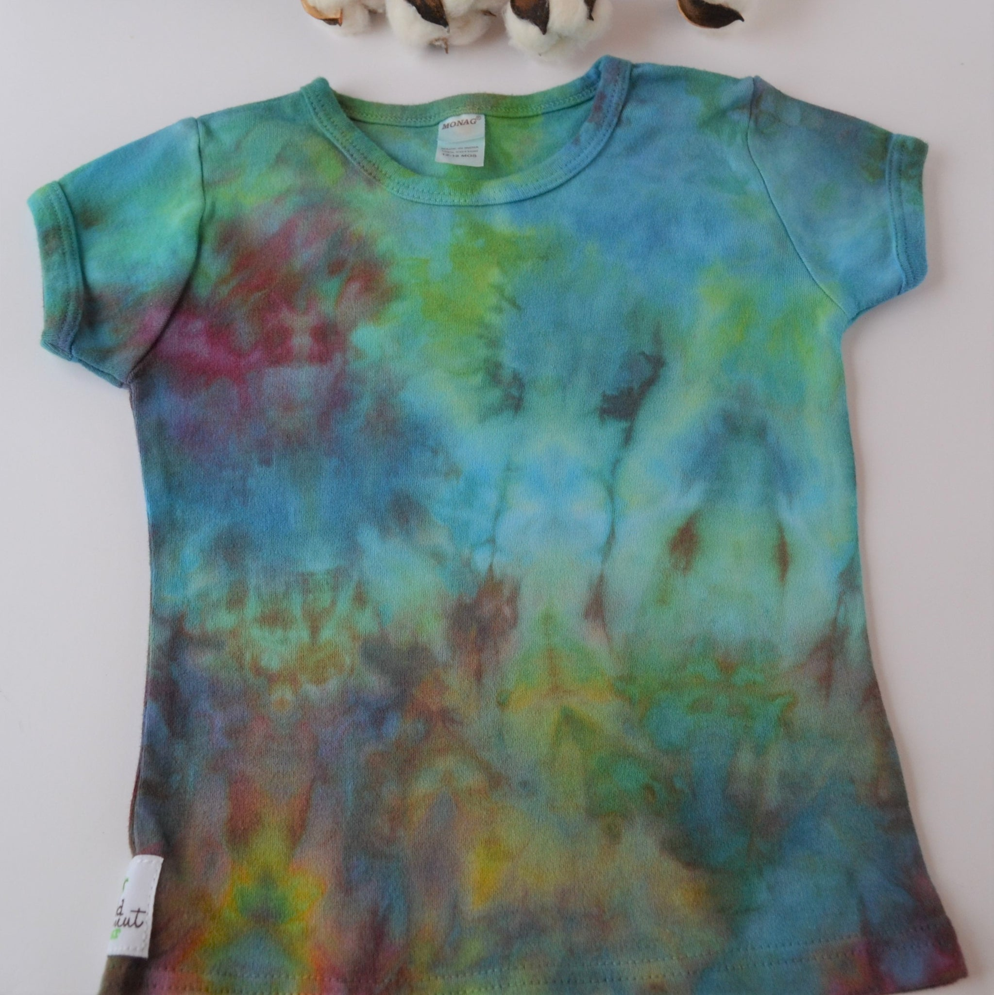 WCW Short Sleeve Girly Tee-  Watercolor Sea  -12-18 months