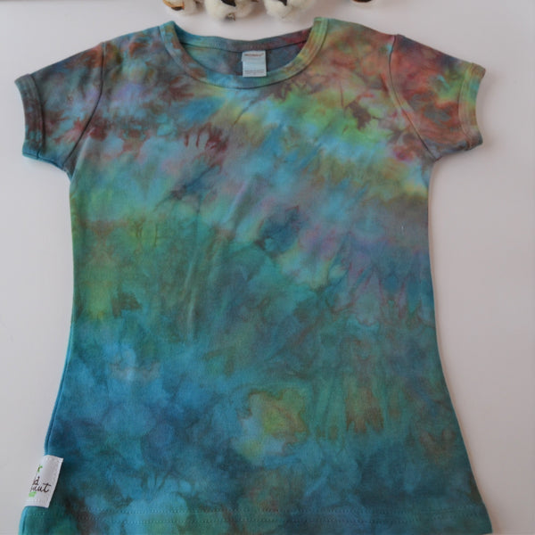 WCW Short Sleeve Girly Tee-  Verdigris Rainbow - 12 months, 12-18 months, 2 or  4