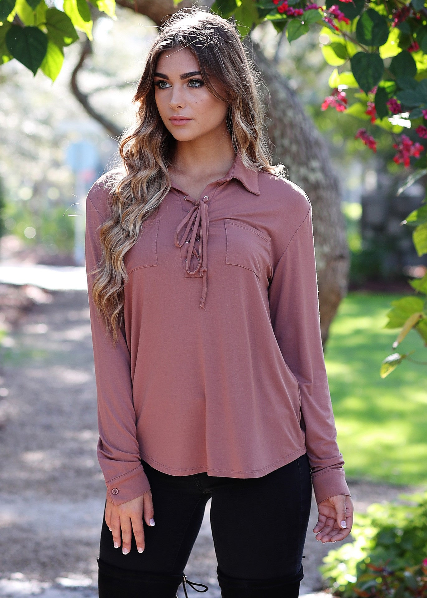 Good Vibes Lace Up Top - Piko Clearance Center - 2