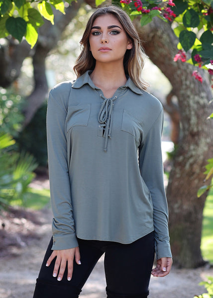 Good Vibes Lace Up Top - Piko Clearance Center - 1