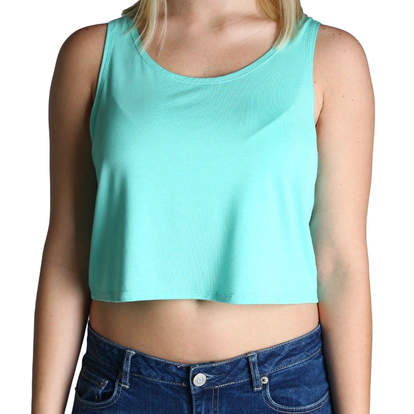 Lucite Green Piko Crop Top - Piko Clearance Center