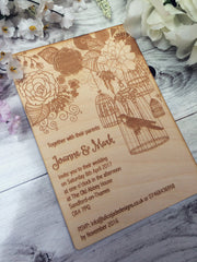 Bird design wedding invite, wedding invitations, summer wedding, wedding invite with bird
