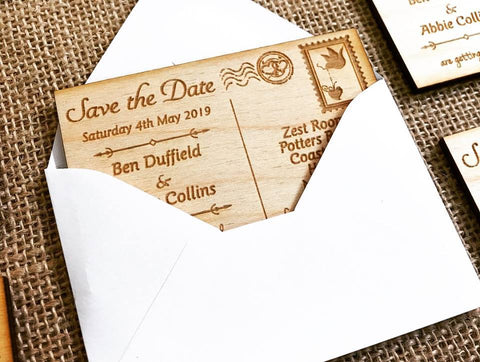 Wooden, engraved magnetic Postcard Save the Date created by Alice Jade Designs