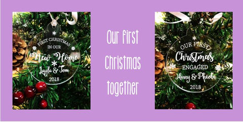 Personalised Christmas baubles for your first Christmas together: Our first Christmas as a Mr and Mrs, our first Christmas in our new home