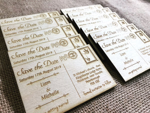 Wood engraved postcard save the date magnets