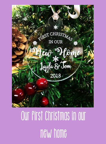 Personalised Christmas bauble to celebrate your first Christmas in your new home