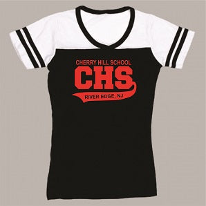 CHS Powder Puff V-Neck Tee- BLACK