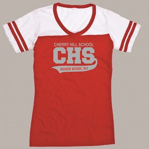 CHS Powder Puff V-Neck Tee- RED