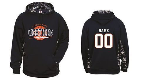 Lincoln Park Lightning Boys Performance Camo Block Hoodie- NAVY