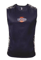 Lincoln Park Lightning Boys Performance Camo Block Sleeveless Fitted Tee- NAVY