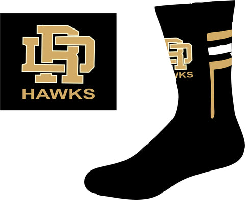 RD Hawks performance socks- BLACK/VEGAS