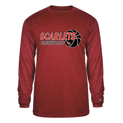 RP Scarlets Basketball Performance Heather Longsleeve Tee