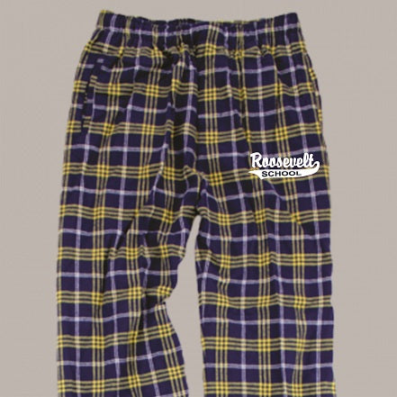 Roosevelt Elementary Flannel Pants- NAVY/GOLD