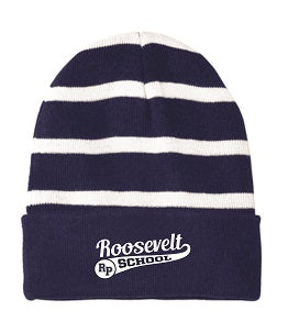 Roosevelt School Striped Beanie