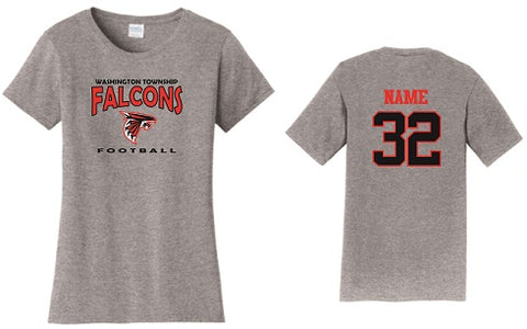WT Falcons Football Ladies Soft Cotton Tee- GREY