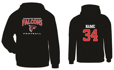 WT Falcons Football Hoodie- BLACK