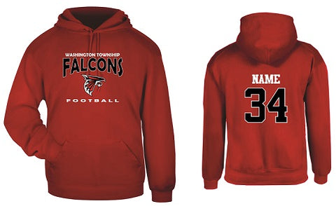 WT Falcons Football Hoodie- RED