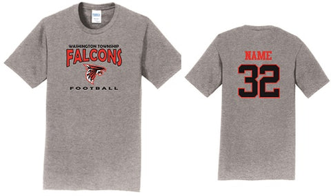 WT Falcons Football Soft Cotton Tee- GREY