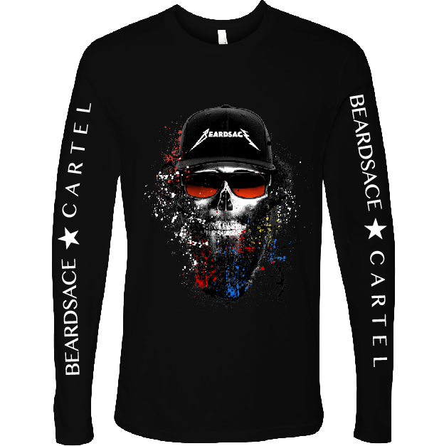Rocker Skull Beard Long Sleeve Tee