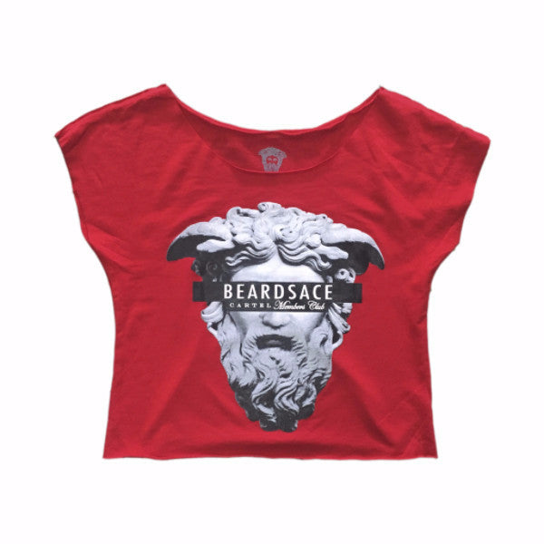 Ladies Crop Top Beard King - Red