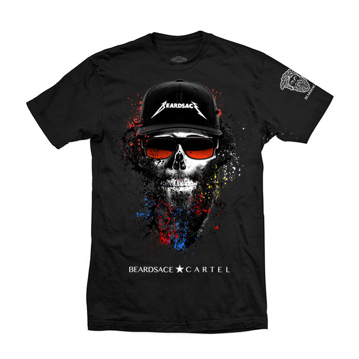 Rocker Skull Beard T Shirt Black/Red/White