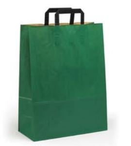 green Paper Bag with Handles - Paper Carrier Bags - TopCraft Bags (Qty: 200+)